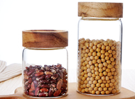 Clear Custom Glass Food Storage Jars For Beans With Wood Lid , Longlife