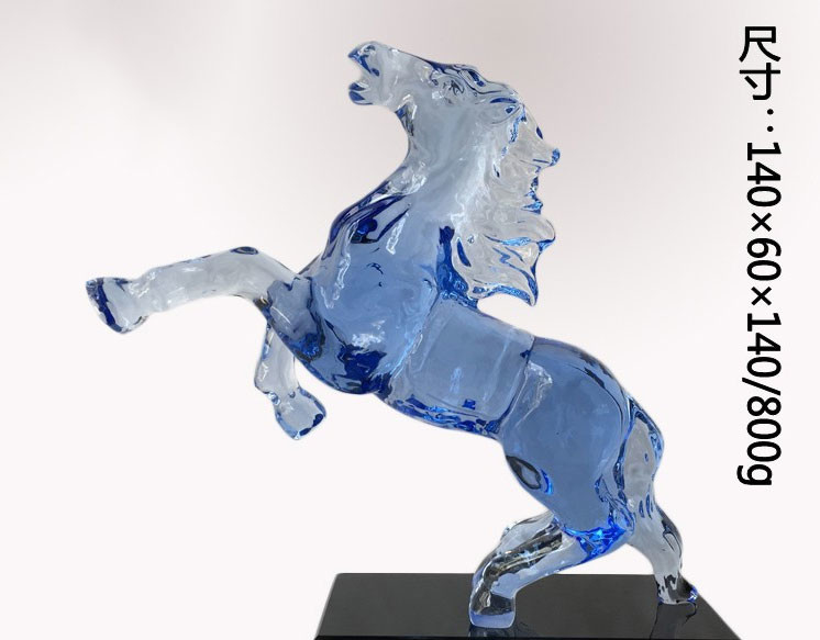 Handmade Decorative Glass Craft Crystal Blue Horse Horse Head 14cm Length