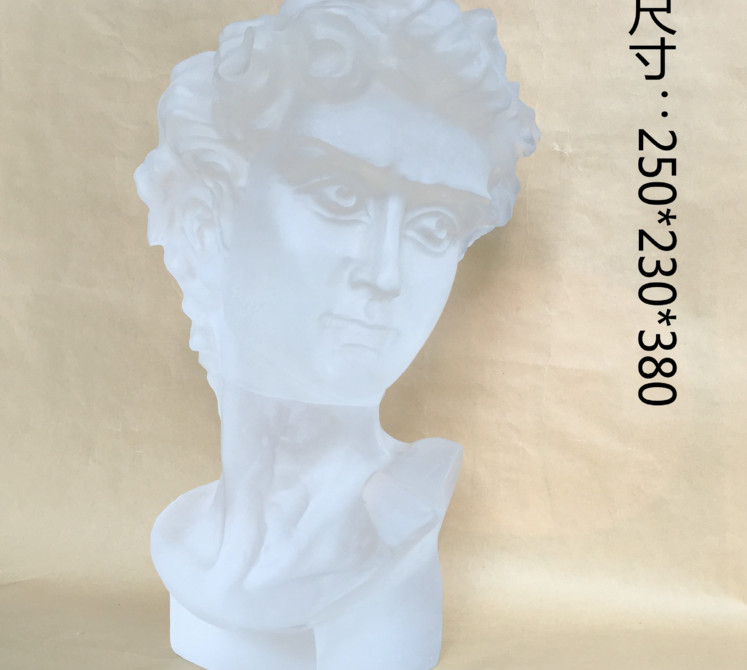 Decorative Clear Crystal David Sculpture Handmade Gallery David Statue Head
