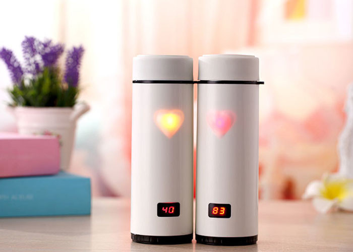 Heart Shape Smart Drink Bottle Vacuum Cup Show Temperature For Drinking