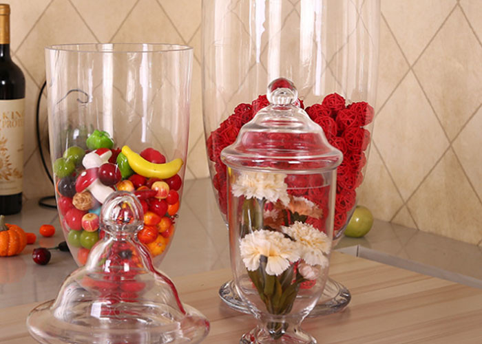 Handmade Large Glass Sugar Jars / Wedding Cookie Glass Lolly Jar For Storage