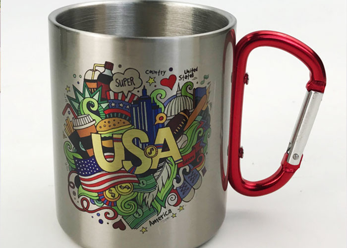 350ml Stainless Water Cup With Carabiner / Stainless Steel Cups Color Logo Customized